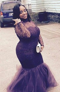High Neck Long Sleeves Lace Floor Length Tulle Plus Size Dress