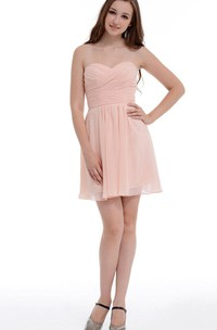 A-line Short Sweetheart Chiffon Dress With Ruffles