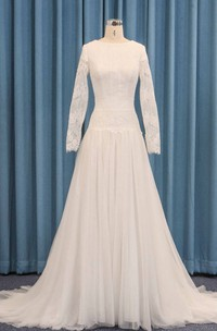 Tulle Lace Overlay Dropped Waist Long Sleeve Wedding Dress A-line With Pleats