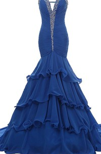 Sweetheart Trumpet Gown With Ruffles and Beadings