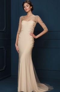 Sheath Long-Sleeve Long Scoop-Neck Beaded Tulle&Jersey Evening Dress