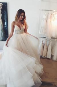 Spaghetti Strap Sash Beads Sequins Tulle Layers Zipper Back Bohemia Wedding Gown