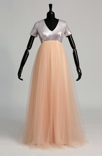 V-neck Short Sleeve Sequined Bodice Dress