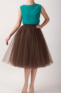Brown Tulle Tutu Skirt Tea Length Dress