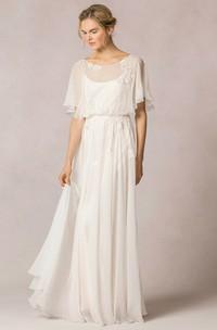 Sheath Scoop-Neck Floor-Length Poet-Sleeve Appliqued Chiffon Wedding Dress With Pleats