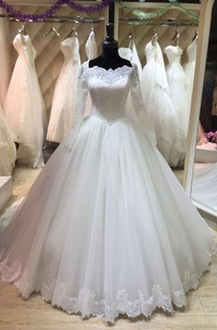 Bateau Neck Long Illusion Sleeve Tulle Ball Gown With Lace Hemline