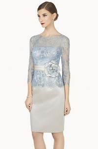 Pencil Beaded Scoop-Neck Midi 3-4-Sleeve Satin&Lace Prom Dress With Flower