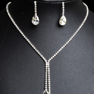 Simple Water Drop Rhinestone Necklace and Earrings Bridal Jewelry Set