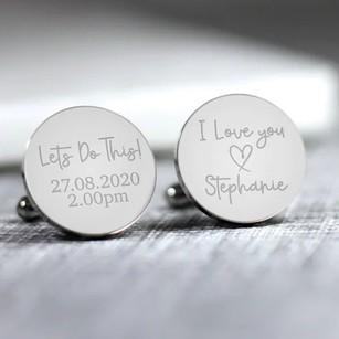 Personalised Engraved Groom Cufflinks
