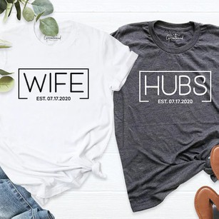 Letter Printed Matching Couple T-Shirt for Husband & Wife