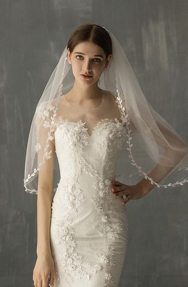 Forest Style Two Tier Elbow Veil with Leaf Edge
