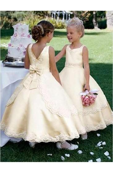 Champagne Flower Girl Dress Full Length Champagne Ivory Dress Vintage Lace  Champagne Flower girl Tutu Dress