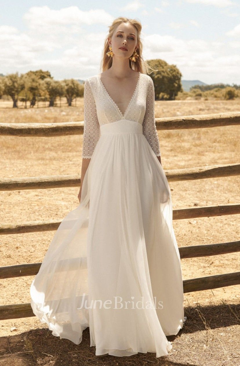 Chiffon 3 4 Sleeve Ethereal Plunging Wedding Dress With Lace Top And Deep V Back June Bridals